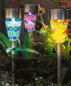 Set of 3 Blue, Purple & Yellow Mosaic Border Solar Lights