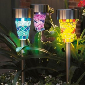 See Our Set of 3 Blue, Purple & Yellow Mosaic Border Solar Lights
