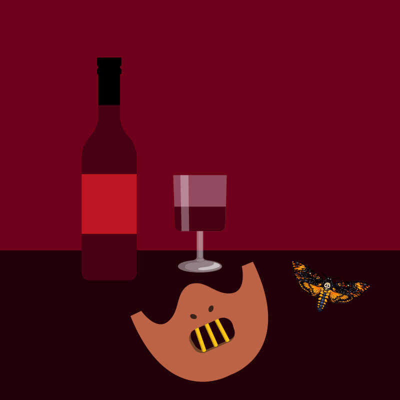 Bottle of red wine beside half empty glass, moth and half face mask