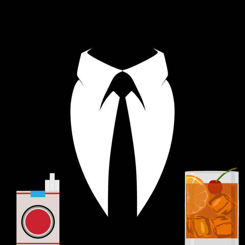 Silhouette of a shirt front and black tie with Lucky Strike cigarettes and a short cocktail in the foreground