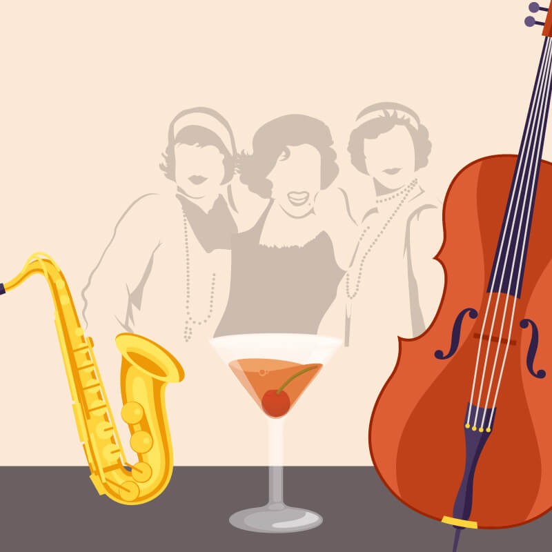 Silhouette of three 50s style glamorous people, a cocktail, a double bass and a saxophone
