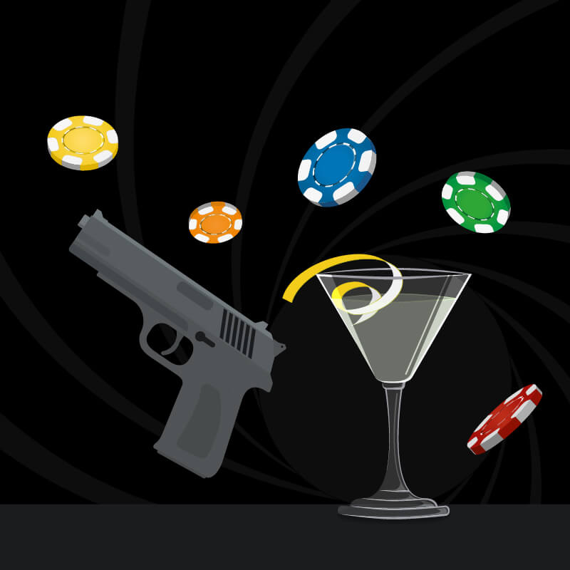 A black background featuring poker chips, a cocktail and a handgun
