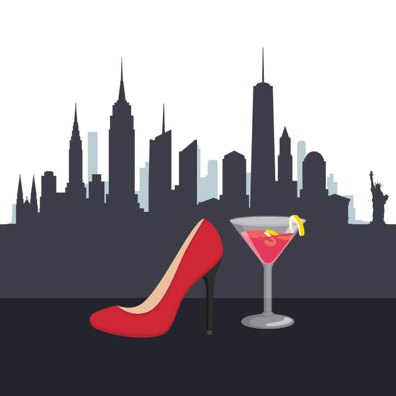 Single red stiletto high heeled shoe and pink cocktail in front of New York city skyline