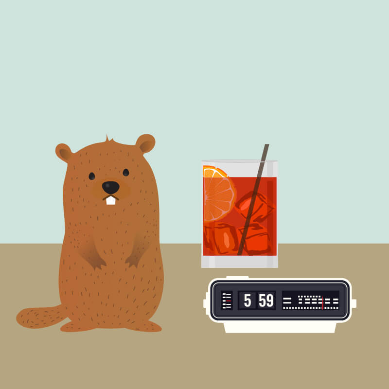 An alarm clock stuck on 5:59, a short red or orange cocktail and a four legged mammal