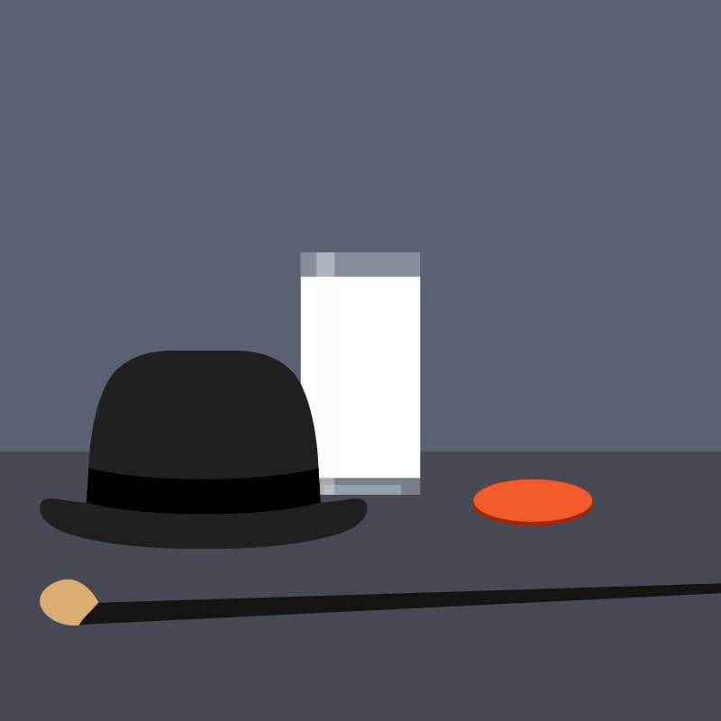A tall white cocktail surrounded by an orange circle, walking cane and a black bowler hat