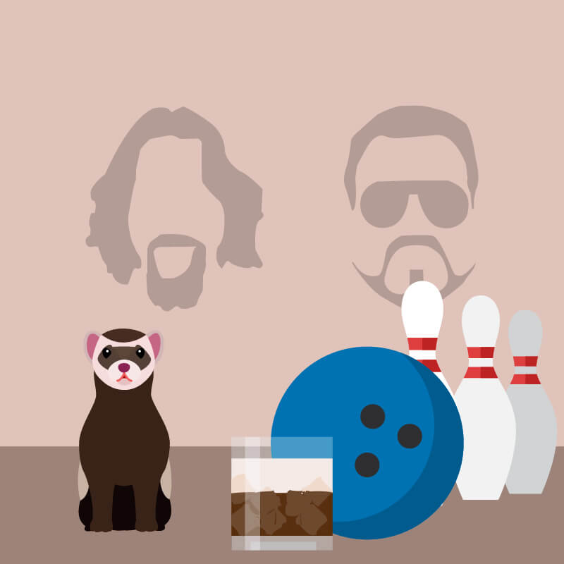 Silhouette of men with goatee's in the background with bowling pins and ball, cocktail and ferret in the foreground